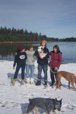 Hannah, Megan, Dylan with Spike, Megan with Rhaja, Keemba in foreground