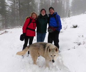 Mary Strickrock, Wally Sykes, Rick Lamplugh and Wally's dog Kumo. Rick has a book called Temple of Wolves coming out soon. Watch for it on his blog http://www.ricklamplugh.blogspot.com/